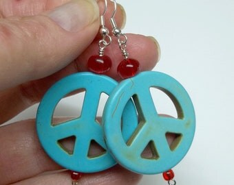 Turquoise Magnesite piece sign earrings red rondelle glass beads bohemian hobo hippie
