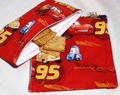 Cars Team McQueen Sandwich and Snack Bag Set, Reusable