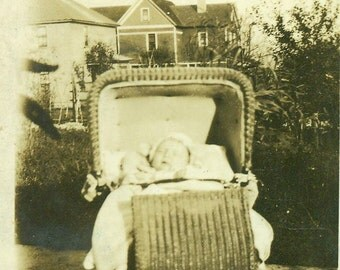 1927 New Baby In Wicker Carriage Stroller Pram Outside Vintage Antique Black and White Photo Photograph