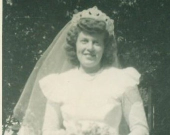 A Bride On Her Wedding Day Standing Outside Reception White Veil Post War Photo Photograph