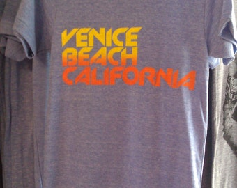 Venice Beach California Mens Athletic Blue American Apparel T-shirt  Tri-blend    S M  L or XL