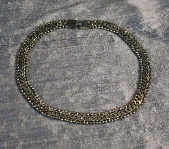 Vintage Ball and Curb Chain Collar Necklace