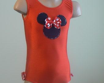 Dancewear. Dance Leotard.  Gymnasts Leotard with Minnie Mouse Applique. Performance Costume. SIZES 2T - Girls 7