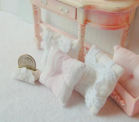 Dollhouse Miniature Shabby Pastel Stripe Toss Pillow