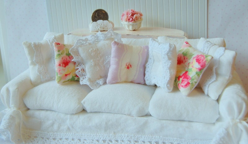 Dollhouse Shabby Chic White Wrinkle Slipcover Sofa