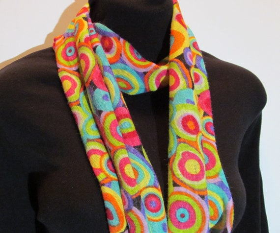 Multicolor Geometric Circles Cosby Punky Brewster INSPIRED  Infinity Scarf- SKINNY
