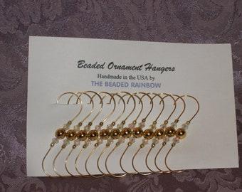 Ornament Hangers/Hooks...Set of 12...Metalic Gold Acrylic Pearls