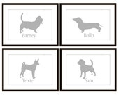 Dog Silhouette Art Print Wall Decor Personalized with a Name