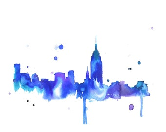 Watercolor Travel Illustration - New York Loves You print