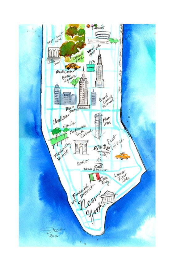 Print from original New York City watercolor map by Jessica Durrant, titled This is My New York