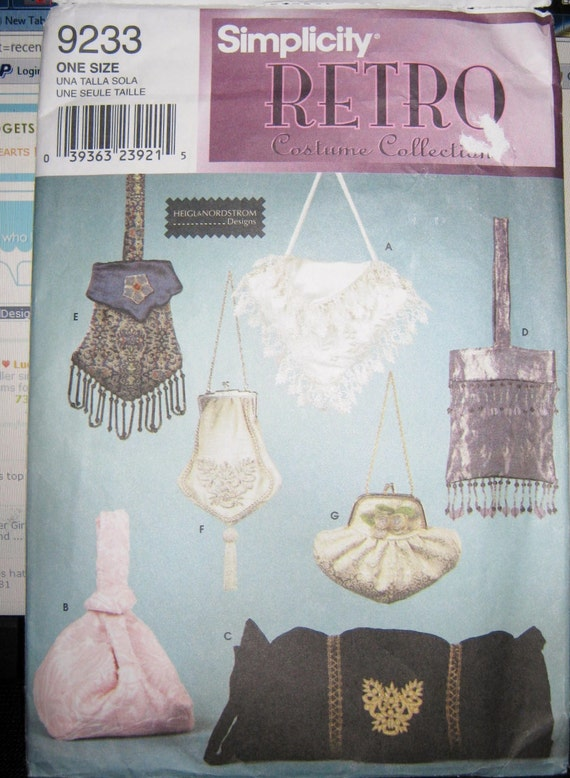 Sewing Pattern  retro  Little evening   Purse Pouches costume pattern Simplicity 9233