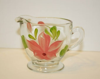 Vintage Glass Creamer with Pretty Pink Flower