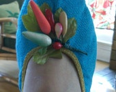 1960s Fun Turquoise Blue Travel Slipper Flats Shoes with Plastic Fruit Adornment 6-7.5