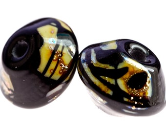 Salel new listing handmade lampwork glass rustic bead pair in silvered ivory and intense black bicone shapes
