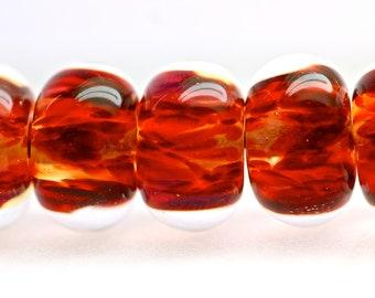 handmade glass lampwork ooak beads set of 6 boro beads orphans fiery ruby and carnelian Topkapi by Paulbead