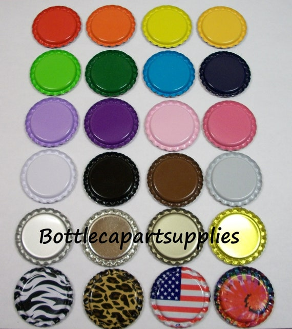 50 Colored Mixed Lot of   Flat  Flattened  Bottle Caps  You Choose the Colors 1""