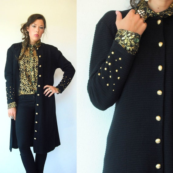 1980's Vintage Black Knit Studded Cardigan Jacket / Studded Long Midi Dress Jacket / Ribbed