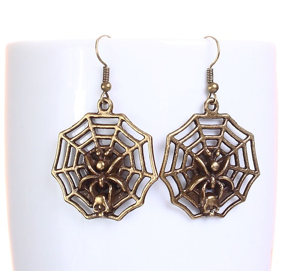 Antique brass spider web dangle earrings (615) - Flat rate shipping