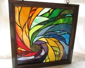 Stained Glass Mosaic Panel - Spiral I - 18 X 18 inches - Wooden frame - By Glass artist Seba