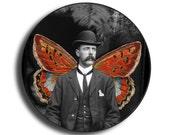 Vintage Winged Man Illustration : Small Pocket Mirror