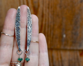 Emerald Shard Silver Post Earrings
