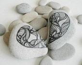 Art Stones - Double heart love weddings favors decoration christmas unique gift grafic art rock