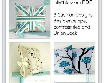 Set of 3 PDF Cushion Cover Sewing Pattens by LillyBlossom