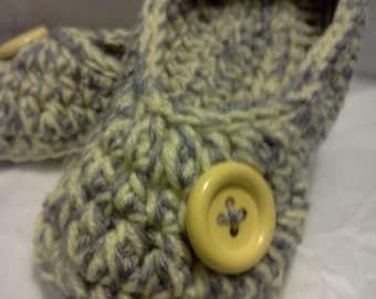 Women's Crochet Yellow Slippers   Yellow and Gray Crochet Slippers   Hand Crochet Slippers   House Shoes   Crochet Booties   Slippers