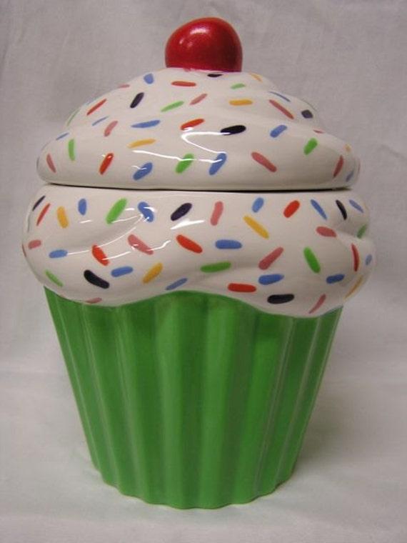 Glazed Rainbow Sprinkles Spring Cupcake Jar
