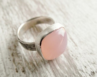 Pink Chalcedony Ring  Sterling Silver Hammered Textured Band Cushion Gemstone Ring, Bezel Set