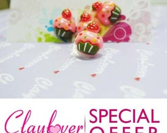 10 pcs. Cupcake with Strawberry Cabochon (XH-323)