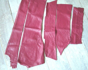 Leather Pieces, Cerise Pink, 5 Remnants, Buttersoft, Soft & Workable, Genuine Hide, Crafting Supplies, DIY Sewing Projects, Free Shipping