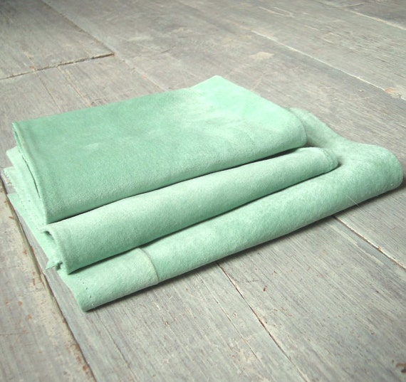 Mint Green Suede, Vintage Leather Lot, 3 Pieces, Soft & Genuine, Pastel Green, Suitable for all Crafts, Animal Hide Destash, Free Shipping