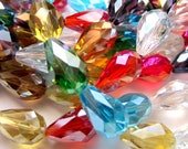 20 Crystal beads faceted assorted color teardrop beads jewelry making supplies 15mm x 10mm ph232,