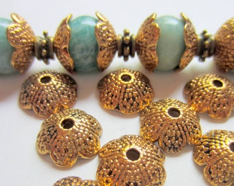 30 bead caps antique gold flower jewelry making supplies 13mm 5mm no lead no camium (SR)