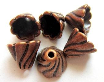 12 Antique Copper bead caps cone tassel caps 13mm 12m large copper bead caps (-V6),