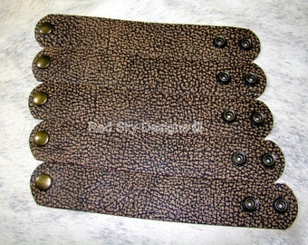 """Leather Supply Set of 5 Unique Rocky Tan Leather Cuffs - 1 1/2"""" X 9"""" -  Gorgeous Leather Bracelets"""