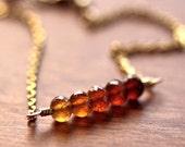 Autumn Garnet Bracelet, Rust Honey Gold and Amber Ombré Gemstone 14k Gold Filled Layering Bracelet January Birthstone  - Changing Leaves
