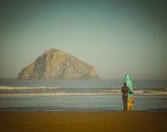 Surfing Photography, Ocean Photo Surfboard California Beach Oregon Hawaii Pastel Tones Neutral Colors sur1