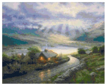 Original Cross Stitch Pattern - Emerald Island Based on Thomas Kincaid painting