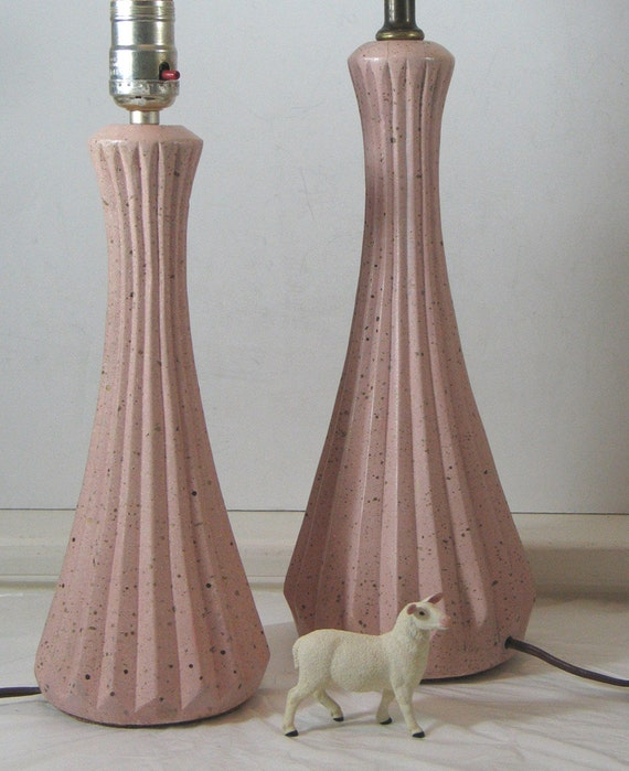 Pair of Mid Century Speckled Lamps