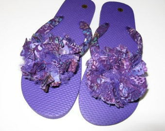 Purple flip flops Decorated Fabric Floral Beach Pool