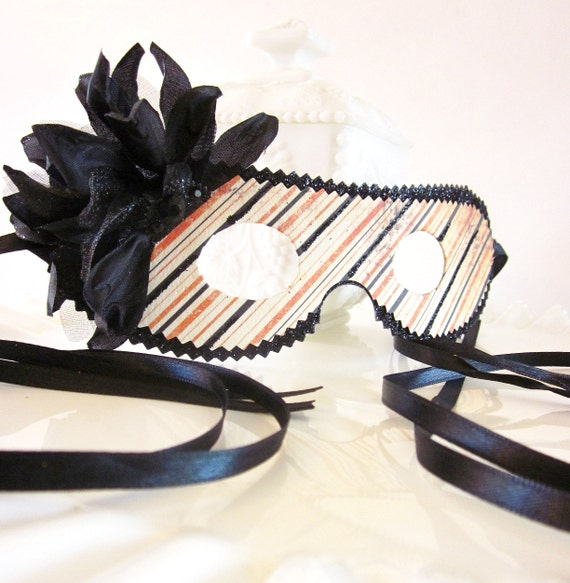 Orange Black and White Halloween Stipes Mask, Decoration, Party Favor