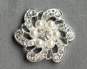 "10 Rhinestone Buttons Round Circle 1"" (25mm) Pearl Diamante Crystal Hair Flower Comb Wedding Invitation Scrapbooking BT011"