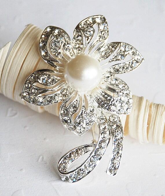 SALE Rhinestone Brooch Component Crystal Pearl Flower Bridal Hair Comb Shoe Clip Wedding Cake Decoration Invitation BR007