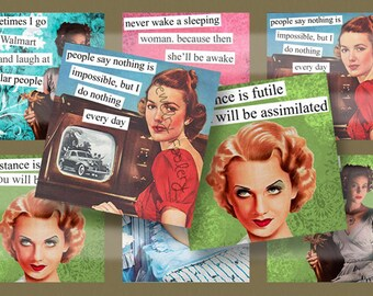 Retro Brazen Broads I Quotes 1C 4x4 Inch Coasters Digital Collage Sheet Printable Images Squares Words Sayings Typography DIY