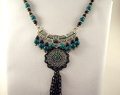 Gabriele's Medieval Turquoise Green and Black Necklace