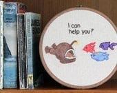 "Angler Fish WIth Attitude Hand Embroidery - 7"" Hoop"