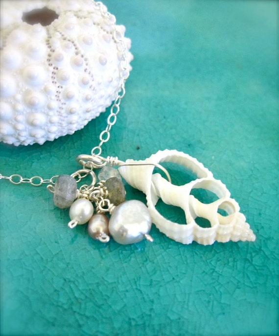 Beach wedding shell necklace