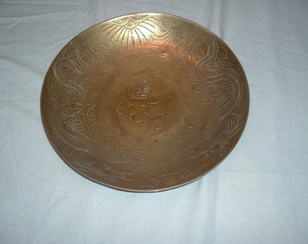OLD vintage hand engraved dragons &lucky Chinese solid  brass bowl